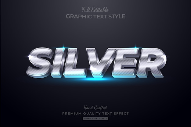 Luxury silver editable text style effect