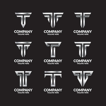 Luxury silver letter t logo collection