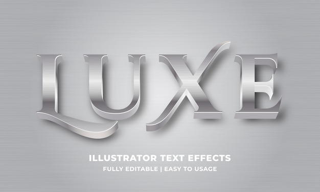 Luxury silver metallic 3d text effect