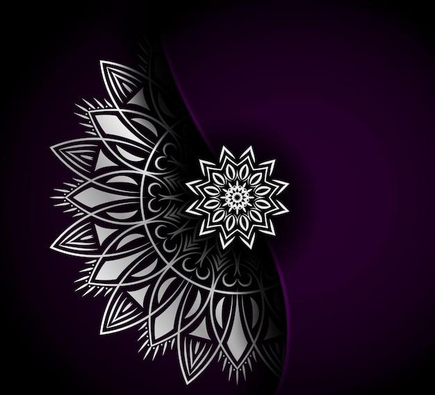 豪華な銀の装飾的な曼荼羅の背景デザイン