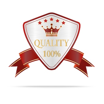 Luxury silver and red quality shields label