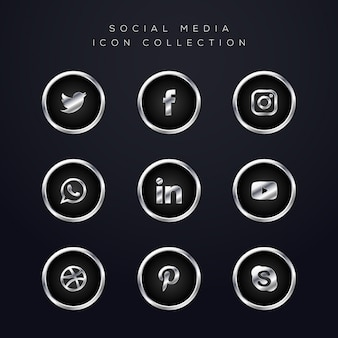 Luxury silver social media icons pack