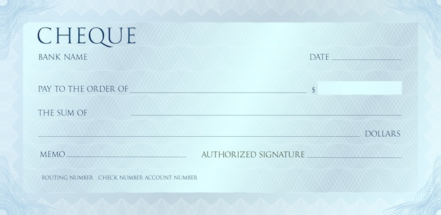 Luxury silvet cheque template with vintage guilloche. check with abstract watermark, border.