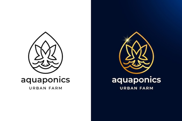 Luxury and simple aquaponics logo design. leaf and fish with drop water best for urban farm symbol