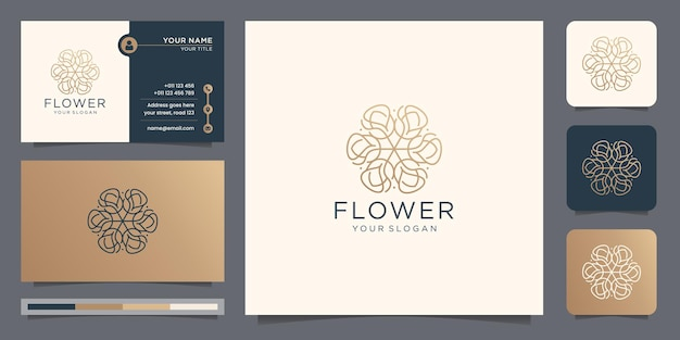 Luxury slim line art flower rose logo design style concept with business card template.