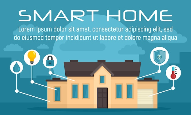 Luxury smart home concept banner