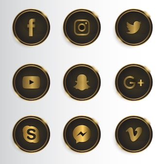 Luxury social media icon collection