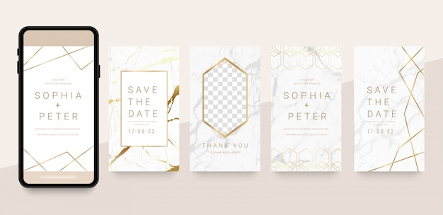 Luxury social media story and post with gold and marble