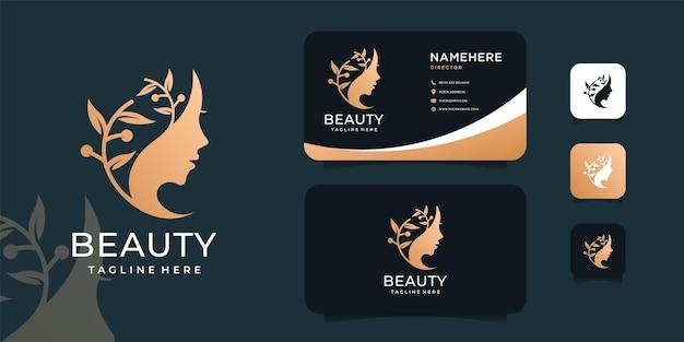 オリーブの葉の植物のロゴデザインセットで豪華なスパの女性の顔。