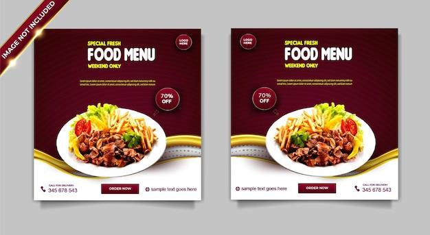 Set di modelli di post di instagram di promozione dei social media di menu di cibo fresco speciale di lusso