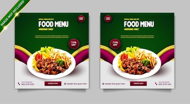 Set di modelli di post di instagram di promozione dei social media di menu speciali di cibo fresco e caldo di lusso