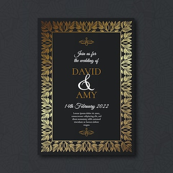 Luxury style wedding invitation template
