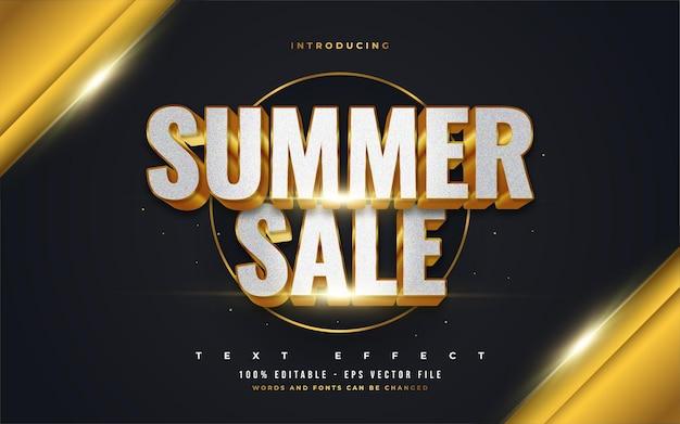 3d 엠보싱 효과가있는 흰색과 금색의 럭셔리 여름 텍스트. 편집 가능한 텍스트 스타일 효과