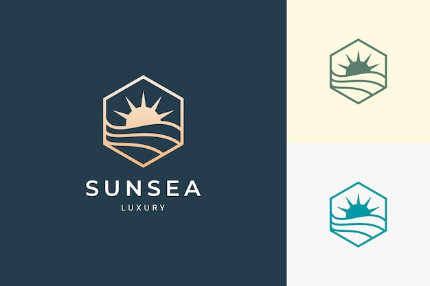 심플하고 깔끔한 육각형의 고급스러운 태양과 바다 로고