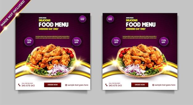 Menu di cibo super fresco di lusso set di modelli di post banner per social media super delizioso