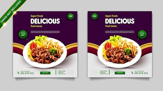 Set di modelli di post banner per la promozione dei social media di cibo super fresco di lusso