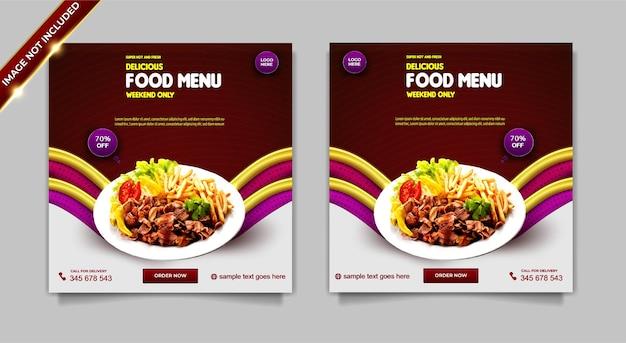 Menu di cibo super caldo e fresco di lusso set di modelli di post banner per social media super delizioso