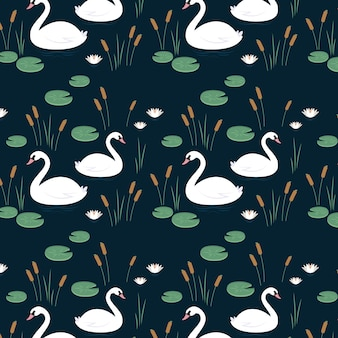 Luxury swam with crown seamless pattern