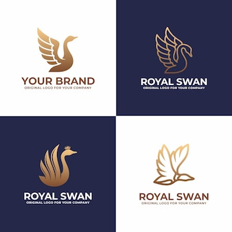 Luxury swan logo design collection.