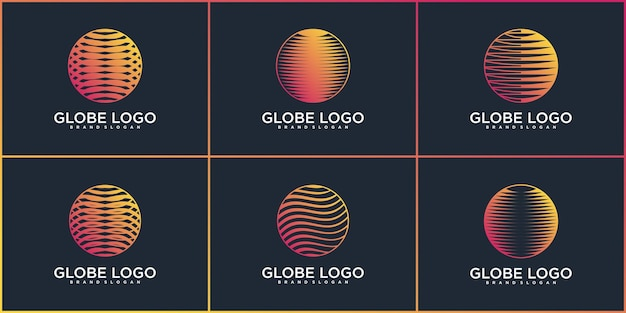 Luxury technology globe logo design colection with modern planet shape premium vector