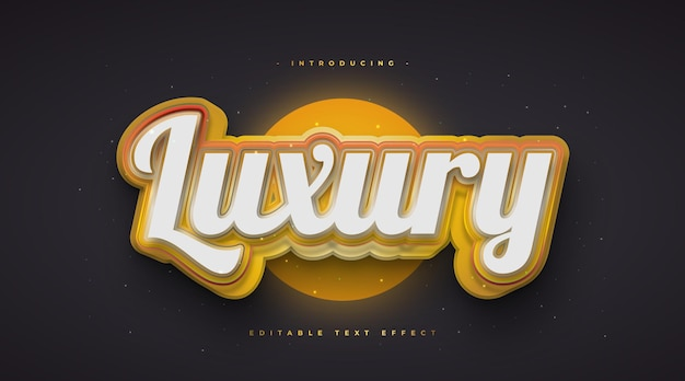 Luxury text style in white and gold with 3d and glowing effect. editable text effect
