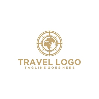 Luxury travel logo with globe and compass