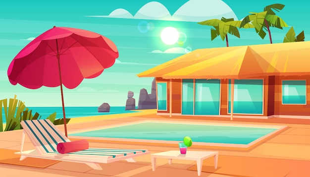 Luxury tropical resort hotel cartoon vector with cocktail on table,
