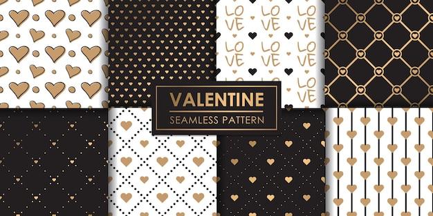 럭셔리 발렌타인 하트 원활한 패턴 세트, 장식 벽지.