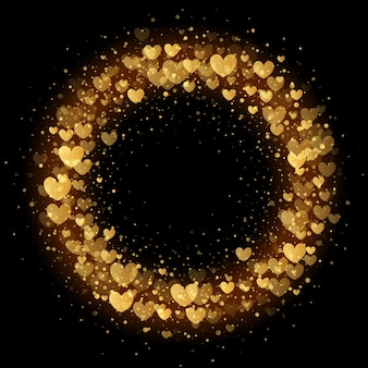 Luxury valentines day wreath golden hearts sparkling pattern for premium black card background