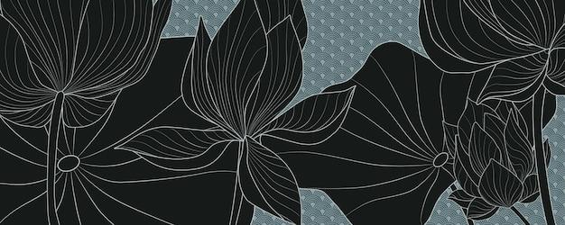 和風の青い背景に黒い蓮の花と豪華なベクトルの背景。