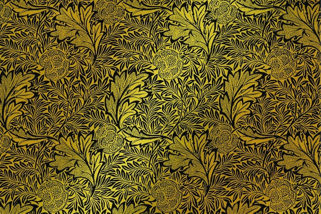 William morris의 작품에서 고급 벡터 황금 꽃무늬 벽지 리믹스