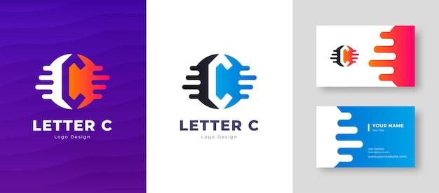 명함 템플릿 문자 c 로고 디자인 우아한 기업의 정체성과 고급 벡터 로고