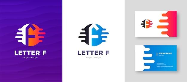 Роскошный векторный логотип с шаблоном визитной карточки буква f дизайн логотипа элегантный фирменный стиль