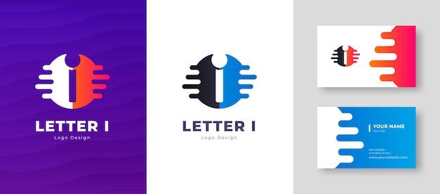 名刺テンプレート文字iロゴデザインの豪華なベクトルのロゴタイプエレガントなコーポレートアイデンティティ