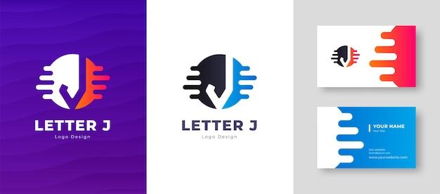 Роскошный векторный логотип с буквой j шаблон визитной карточки элегантный фирменный стиль