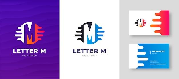 Роскошный векторный логотип с шаблоном визитной карточки буква m дизайн логотипа элегантный фирменный стиль