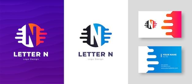 Роскошный векторный логотип с шаблоном визитной карточки буква n дизайн логотипа элегантный фирменный стиль