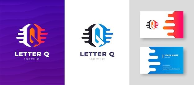 名刺テンプレート文字qロゴデザインの豪華なベクトルのロゴタイプエレガントなコーポレートアイデンティティ