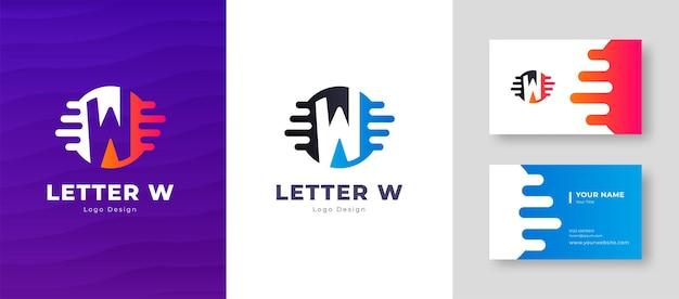 Роскошный векторный логотип с буквой w шаблон визитной карточки элегантный фирменный стиль
