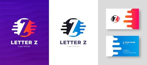 Роскошный векторный логотип с буквой z шаблона визитной карточки элегантный фирменный стиль