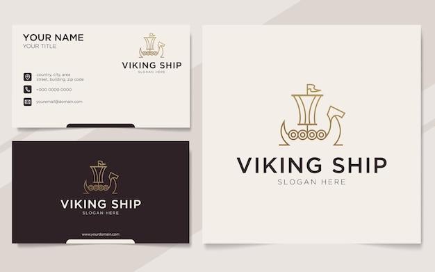 豪華なバイキング船のアウトラインロゴと名刺テンプレート