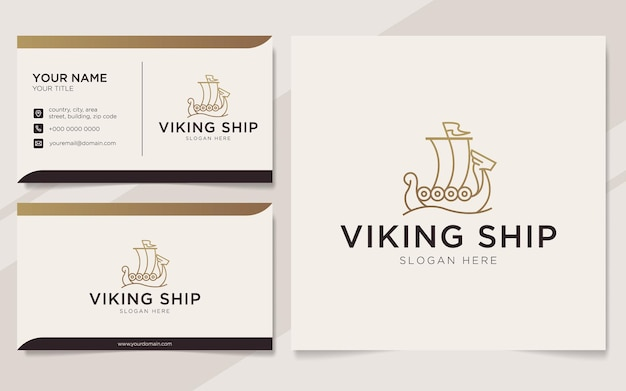 Luxury viking ship outline logo and business card template