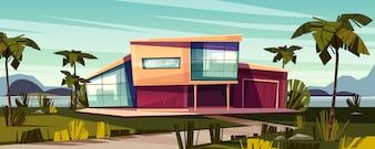 Luxury villa on tropical beach cartoon illustration.