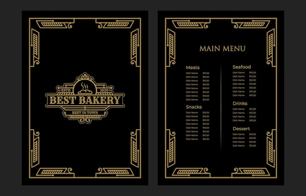 Luxury vintage bakery shop food menu card template cover with logo for hotel cafe bar coffee shop