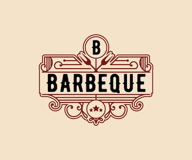 Роскошный винтажный барбекю барбекю коптильня бар и гриль барбекю логотип гравировка дизайн