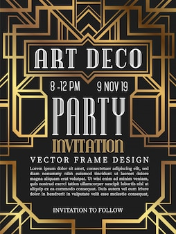 Luxury vintage frame art deco style.