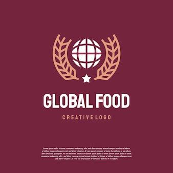 Роскошный винтаж глобальный продовольственный логотип дизайн шаблон вектор, эмблема, концепция дизайна, значок символ