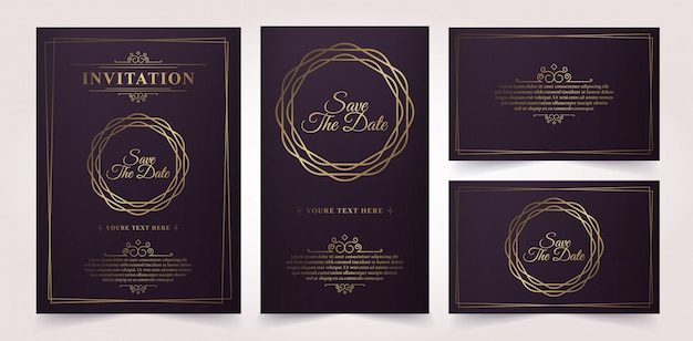 Luxury vintage gold vector invitation card template