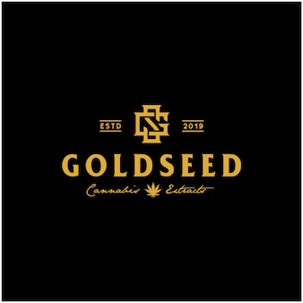 Luxury vintage golden cbd cannabis logo