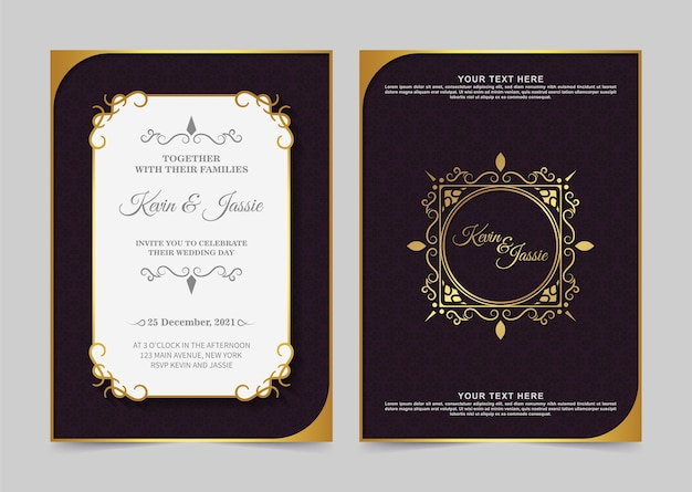 Роскошный винтажный золотой шаблон приглашения